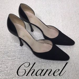 CHANEL SUEDE AND PATENT PUMPS